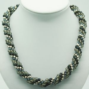 Handmade Blue and Silver Bead Crochet Necklace